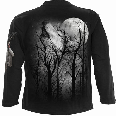 Image of FOREST WOLF - Longsleeve T-Shirt Black - Spiral USA