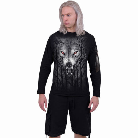 FOREST WOLF - Longsleeve T-Shirt Black - Spiral USA