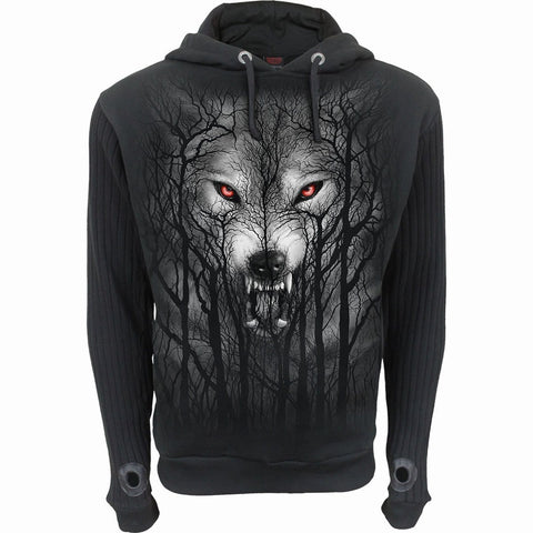 Image of FOREST WOLF - Supa Ribbed Sleeve Hoody Black - Spiral USA