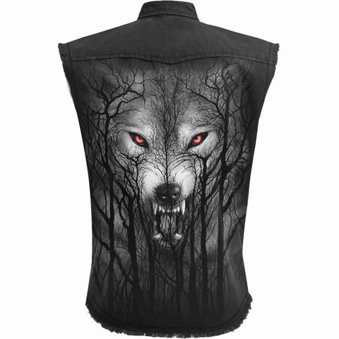 FOREST WOLF - Sleeveless Stone Washed Worker Black - Spiral USA
