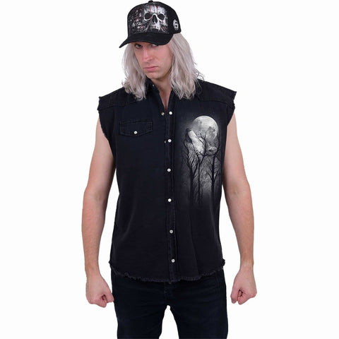 Image of FOREST WOLF - Sleeveless Stone Washed Worker Black - Spiral USA