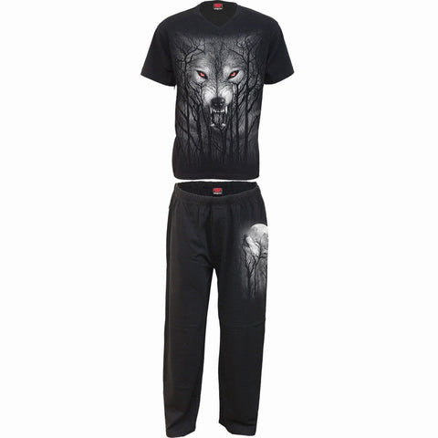 Image of FOREST WOLF - 4pc Mens Gothic Pyjama Set - Spiral USA