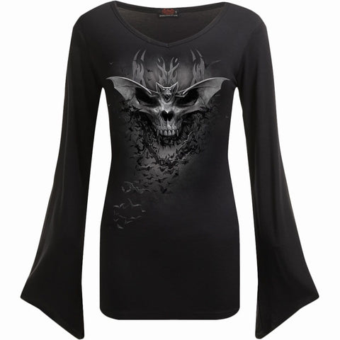 BAT SKULL - V Neck Goth Sleeve Top Black - Spiral USA