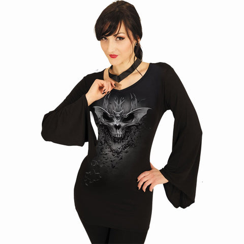 Image of BAT SKULL - V Neck Goth Sleeve Top Black - Spiral USA