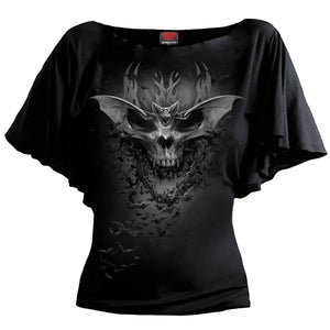 BAT SKULL - Boat Neck Bat Sleeve Top Black