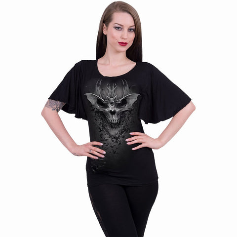BAT SKULL - Boat Neck Bat Sleeve Top Black - Spiral USA