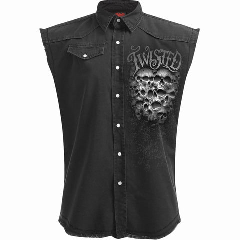 TWISTED SKULLS - Sleeveless Stone Washed Worker Black - Spiral USA