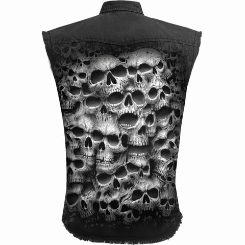 Image of TWISTED SKULLS - Sleeveless Stone Washed Worker Black - Spiral USA