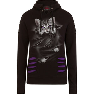 BRIGHT EYES - Large Hood Ripped Hoody Purple-Black - Spiral USA