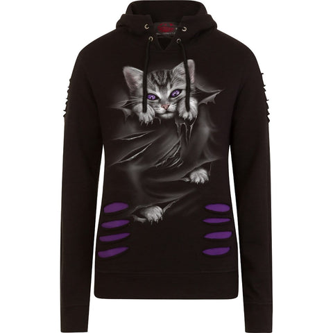 Image of BRIGHT EYES - Large Hood Ripped Hoody Purple-Black - Spiral USA
