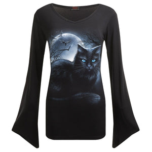 MYSTICAL MOONLIGHT - V Neck Goth Sleeve Top Black - Spiral USA