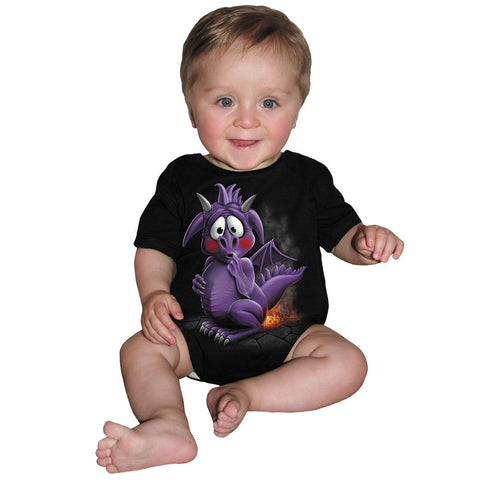 Image of DRAGON RELIEF - Baby Sleepsuit Black - Spiral USA