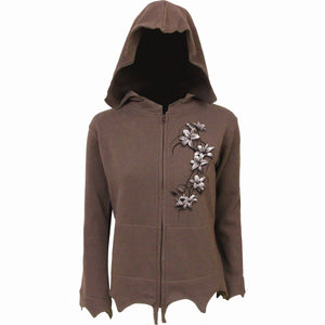 PURE OF HEART - Zig Zag Hem Full Zip Hoody Chocolate - Spiral USA