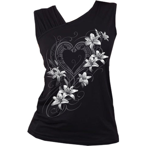 PURE OF HEART - Gathered Shoulder Slant Vest Black - Spiral USA