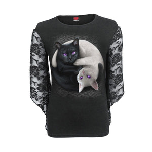 YIN YANG CATS - Rose Lace Sleeve Top - Spiral USA