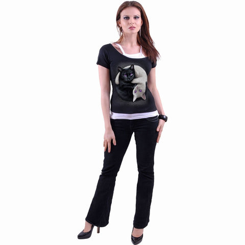 Image of YIN YANG CATS - 2in1 Off Shoulder Top Black - Spiral USA