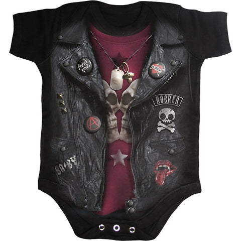 Image of BABY BIKER - Baby Sleepsuit Black - Spiral USA