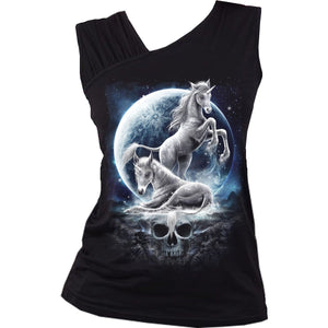 BABY UNICORN - Gathered Shoulder Slant Vest Black - Spiral USA