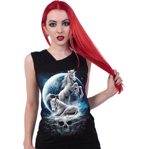 Image of BABY UNICORN - Gathered Shoulder Slant Vest Black - Spiral USA