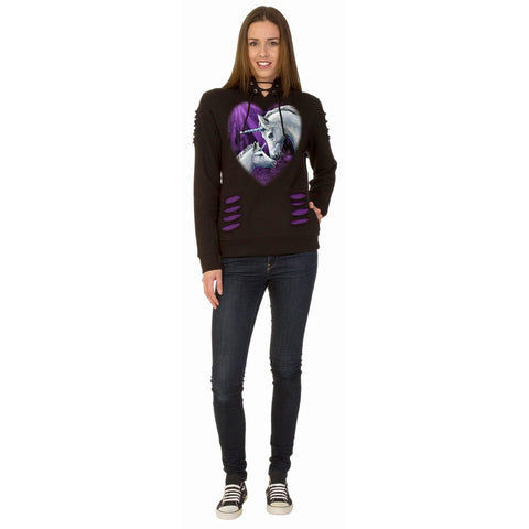 SACRED LOVE - Large Hood Ripped Hoody Purple-Black