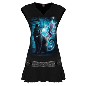 CAT AND FAIRY - Stud Waist Mini Dress Black - Spiral USA