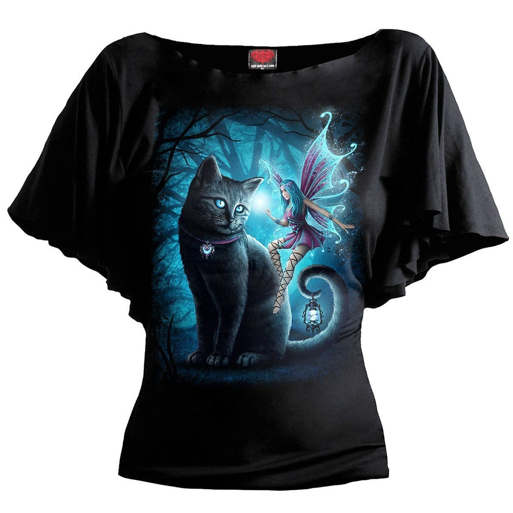 CAT AND FAIRY - Boat Neck Bat Sleeve Top Black - Spiral USA