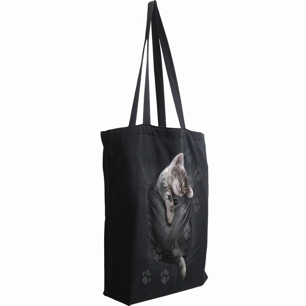 POCKET KITTEN - Bag 4 Life - Canvas 80z Long Handle Tote Bag - Spiral USA