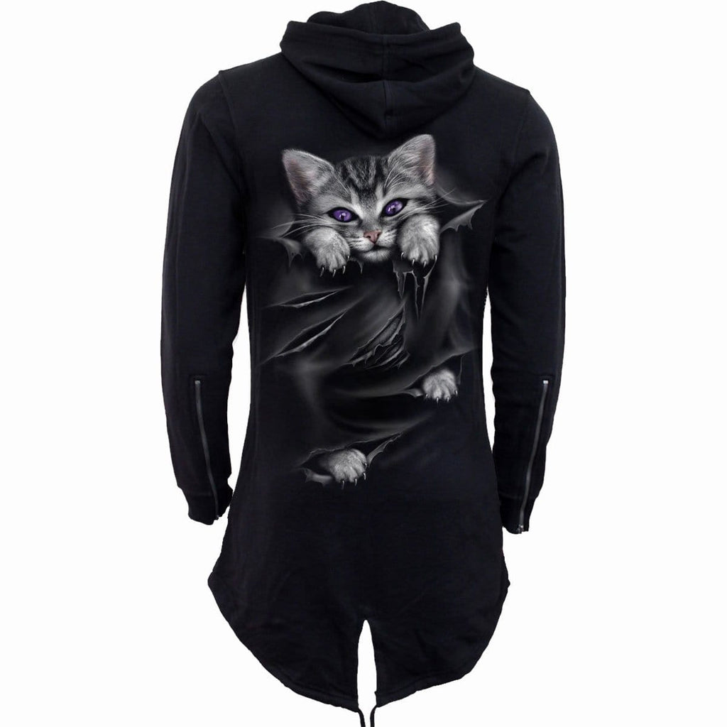 POCKET KITTEN - Ladies Fish Tail Full Zip Hoody - Zip Sleeve - Spiral USA