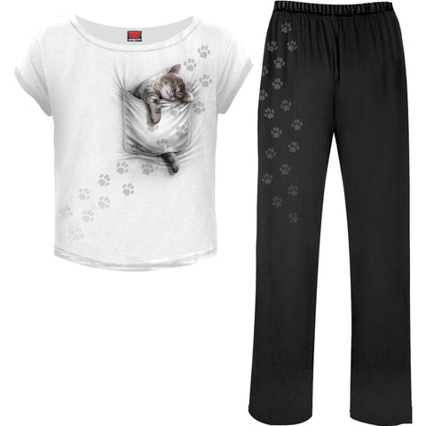 Image of POCKET KITTEN - 4pc Gothic Pyjama Set - Spiral USA