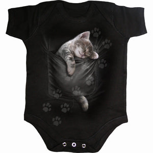 POCKET KITTEN - Baby Sleepsuit Black - Spiral USA
