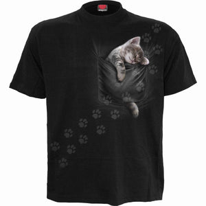 POCKET KITTEN - Front Print T-Shirt Black - Spiral USA