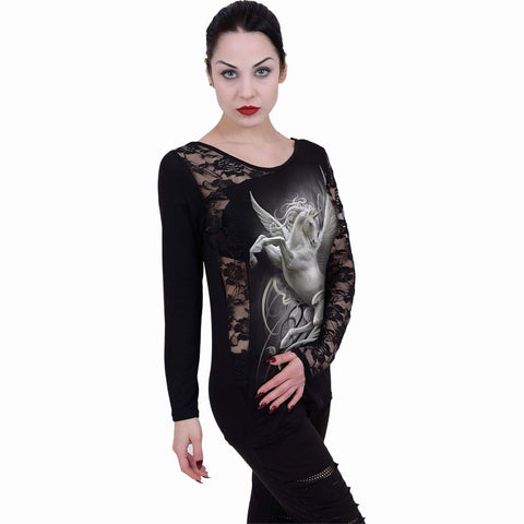 Image of PURITY - Lace One Shoulder Top Black - Spiral USA