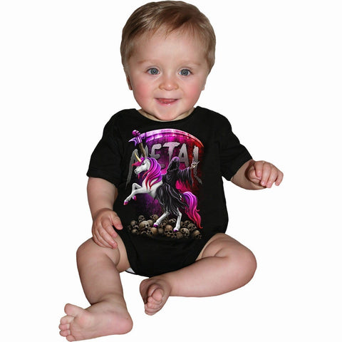METALLICORN - Baby Sleepsuit Black - Spiral USA