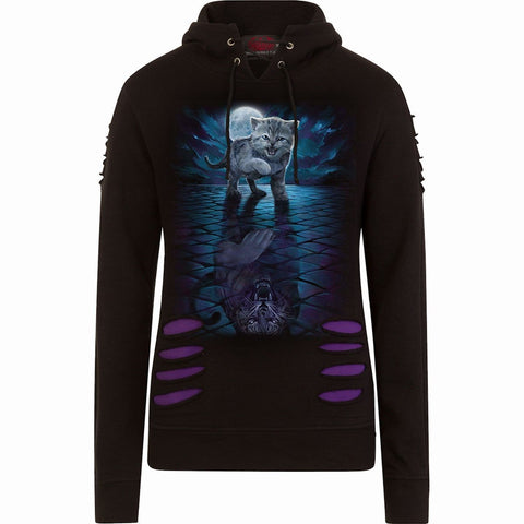 Image of WILD SIDE - Large Hood Ripped Hoody Purple-Black - Spiral USA