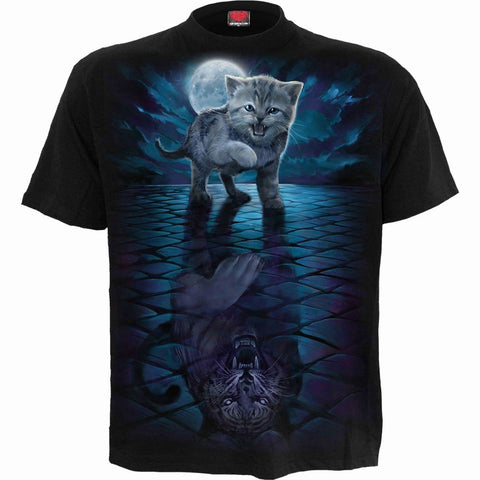 WILD SIDE - Front Print T-Shirt Black - Spiral USA