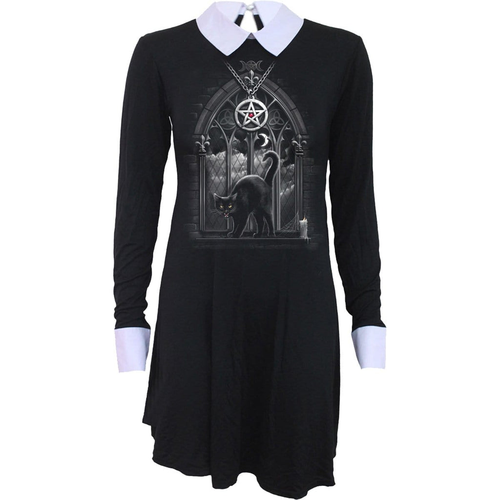 WITCH NIGHTS - PeterPan Collar Baby Doll LS Dress - Spiral USA