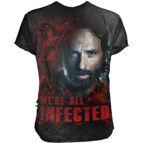 Image of RICK - ALL INFECTED - Walking Dead Ripped T-Shirt Black - Spiral USA