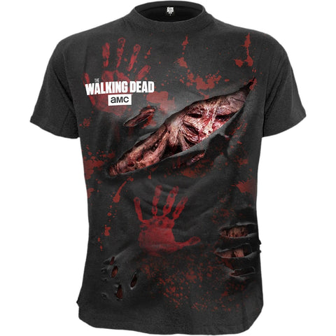Image of ZOMBIE - ALL INFECTED - Walking Dead Ripped T-Shirt Black - Spiral USA