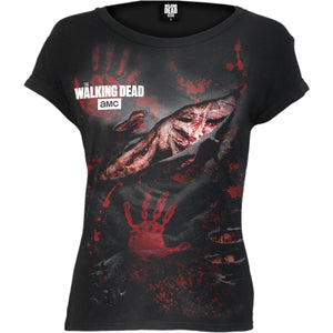 LOGO - BLOOD HAND PRINTS - Walking Dead Ripped Cap Sleeve Black - Spiral USA