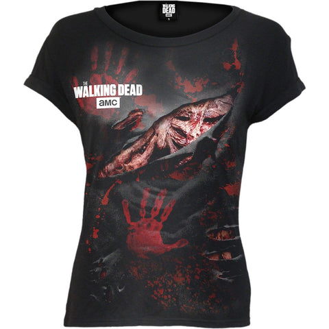 Image of LOGO - BLOOD HAND PRINTS - Walking Dead Ripped Cap Sleeve Black - Spiral USA