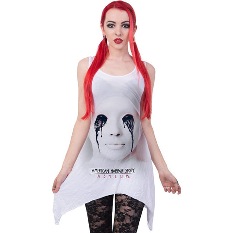 ASYLUM - WHITE NUN - AHS Goth Bottom Vest Dress White