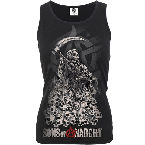 SOA REAPER SKULLS - Sons of Anarchy Razor Back Top Black - Spiral USA