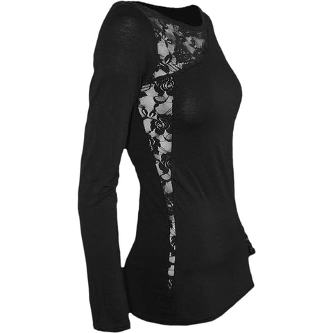 SOA REDWOOD ORIGINAL - Allover Licensed Shoulder Lace Top Black - Spiral USA