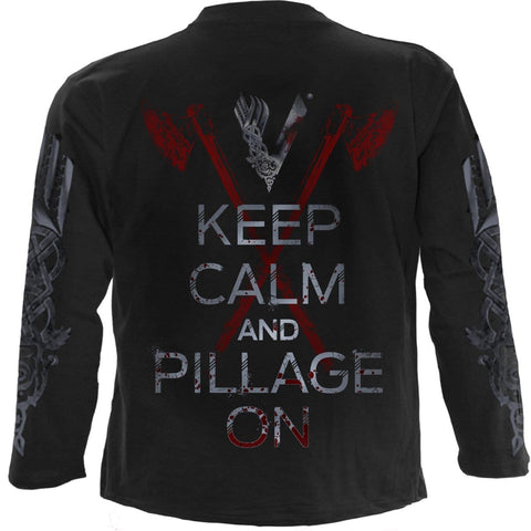 Image of ROLLO AXE - KEEP CALM - Vikings Longsleeve Black - Spiral USA