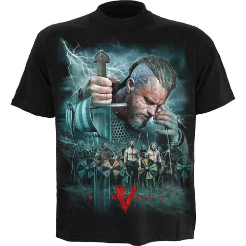 Image of VIKINGS - BATTLE - Vikings T-Shirt Black - Spiral USA
