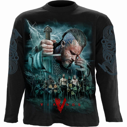 Image of VIKINGS - BATTLE - Longsleeve T-Shirt Black - Spiral USA