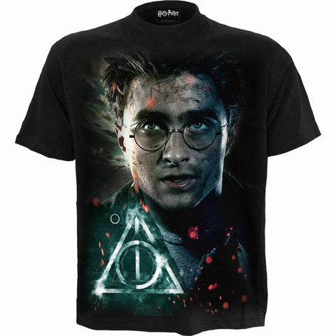 Image of HARRY - DEATHLY HALLOWS - Harry Potter T-Shirt Black - Spiral USA