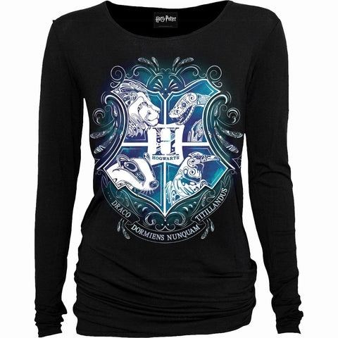 Image of HOGWARTS CREST - Harry Potter Baggy Top Black - Spiral USA