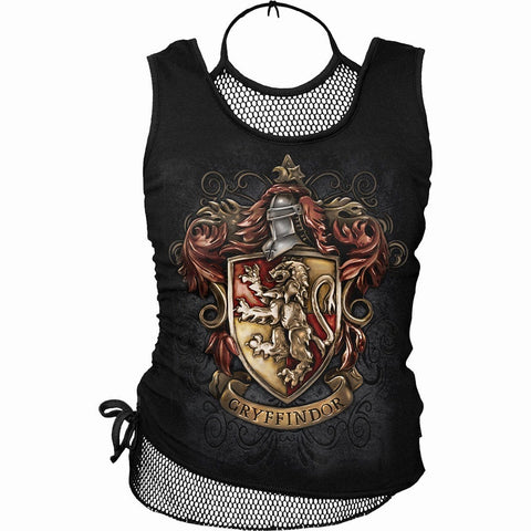 GRYFFINDOR CREST - Harry Potter 2in1 Neck Tie Mesh Top Black - Spiral USA