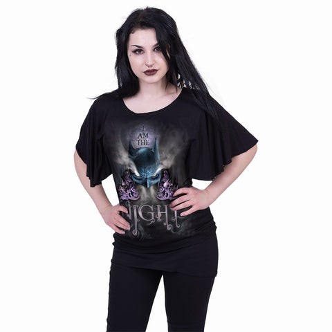 Image of BATMAN - I AM THE NIGHT - Boat Neck Bat Sleeve Top Black - Spiral USA